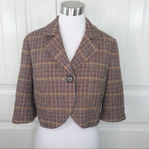 Nordstrom Halogen Houndstooth Tweed Cropped Jacket